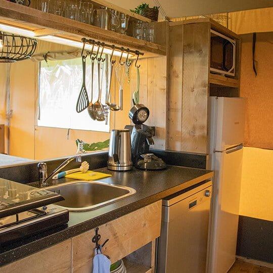 glam camping kitchen